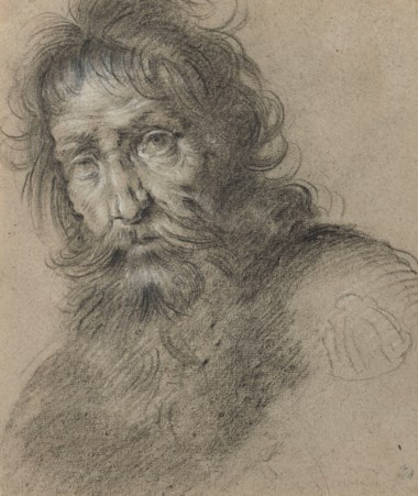 Bernardo Strozzi (1581-1644), Head of a bearded man. Black and white chalk on grey-brown paper, 7½ x 6½  in (19 x 16.5 cm). Estimate £20,000-30,000. Offered in Old Master and British Drawings and Watercolours Including Works from the Collection of Jean Bonna on 2 July 2019 at Christie's in London