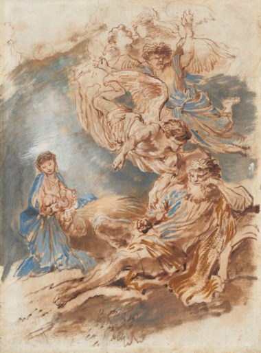 Giovanni Benedetto Castiglione, Il Grechetto (1609-1664), The Nativity. Brush and brown ink and ochre, blue, pink and white oil, 17⅜ x 12 ¾  in (44.1 x 32.5 cm). Estimate £60,000-80,000. Offered in Old Master and British Drawings and Watercolours Including Works from the Collection of Jean Bonna on 2 July 2019 at Christie's in London