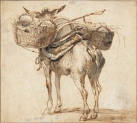 A donkey laden with baskets, seen from behind