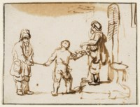 A boy leading a blind man to receive alms