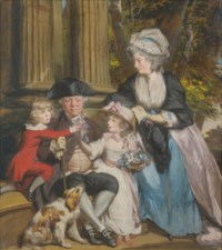 Andrew Grote (1710-1788) with wife Mary Anne Culverdon (1740-1797) and children, William and Marianne, with their spaniel