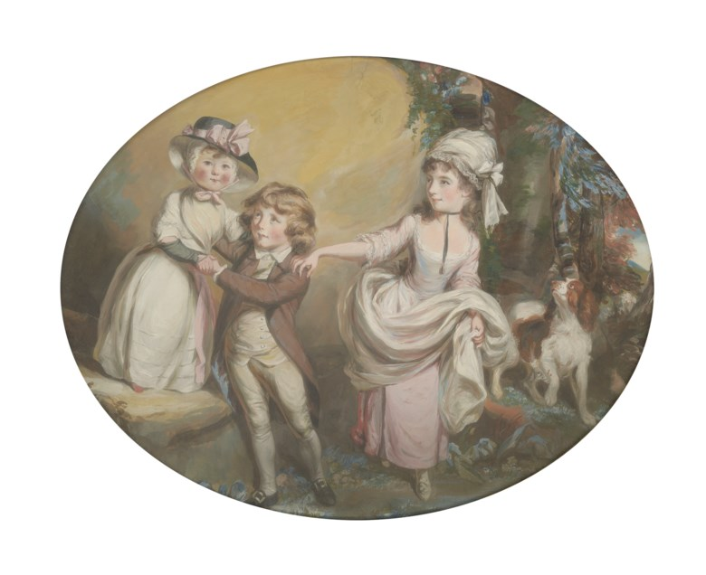 Daniel Gardner, A.R.A. (1750-1805), Portrait group of Viscount Brome (1774-1823), Lady Mary Cornwallis (1769-1840) and Miss Caroline Townshend (1778-1866) as children, with a spaniel in a wooded landscape. Pencil, pastel and bodycolour. 29½ x 37½  in (74.9 x 95.3  cm). Estimate £12,000-18,000. Offered in Old Master and British Drawings and Watercolours Including Works from the