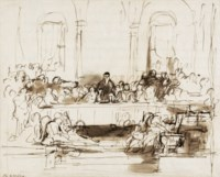 Study for 'John Knox dispensing the sacrament at Calder House', drawn on the back of the artist's list of Royal Academy Submissions 1839, leading with 'Sir David Baird drawing the body of Tippo Saib after his capture at Seringa Patam on 4th of May 1799'