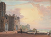 The North Terrace of Windsor Castle, looking west at sunset