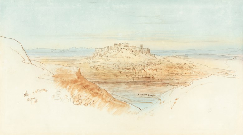 Edward Lear (1812-1888), Athens from Mount Lycabettus. Pencil, pen, blue and brown wash. 10½ x 18½ in (26.7 x 47 cm).