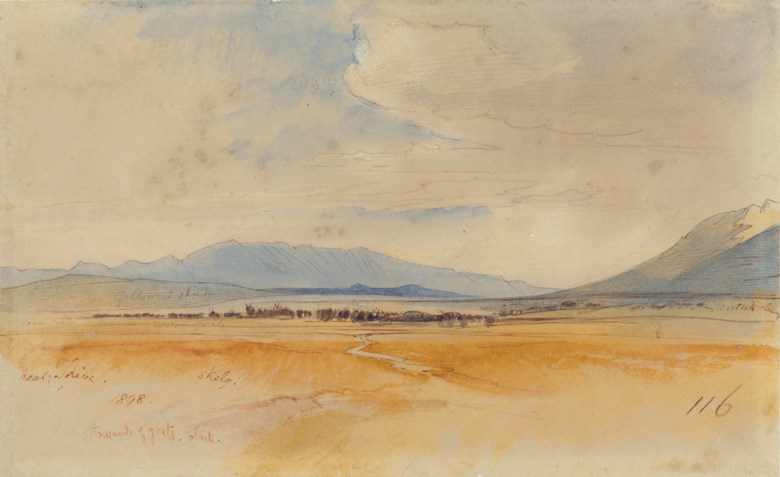 Edward Lear (1812-1888), Thousands of goats, near Thebes. Pencil, pen and watercolour. 6¼ x 10¼ in (15.9 x 26 cm). Sold for £4,000 on 2 July 2019 at Christie's in London