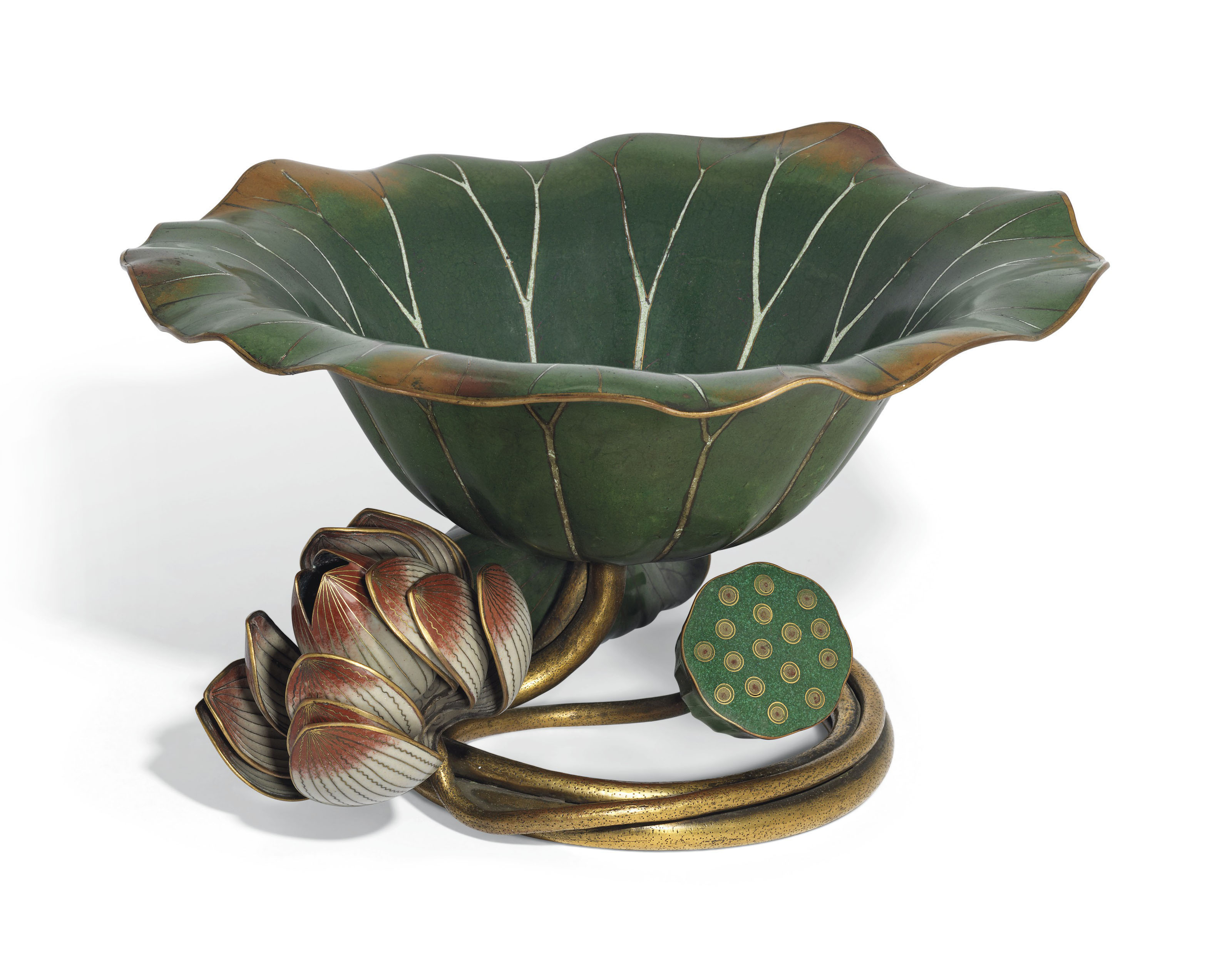 A RARE AND LARGE CLOISONNÉ ENAMEL 'LOTUS-LEAF' BRUSH WASHER, XI