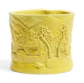 A CARVED AND MOULDED YELLOW-GLAZED BRUSHPOT, BITONG