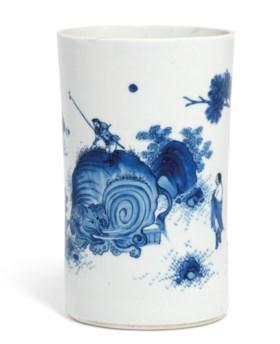 A BLUE AND WHITE BRUSH POT, BITONG