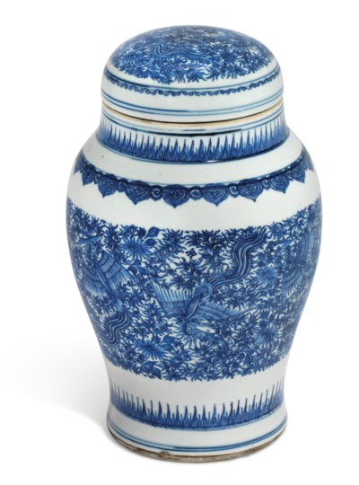 A BLUE AND WHITE 'PHOENIX' JAR AND COVER