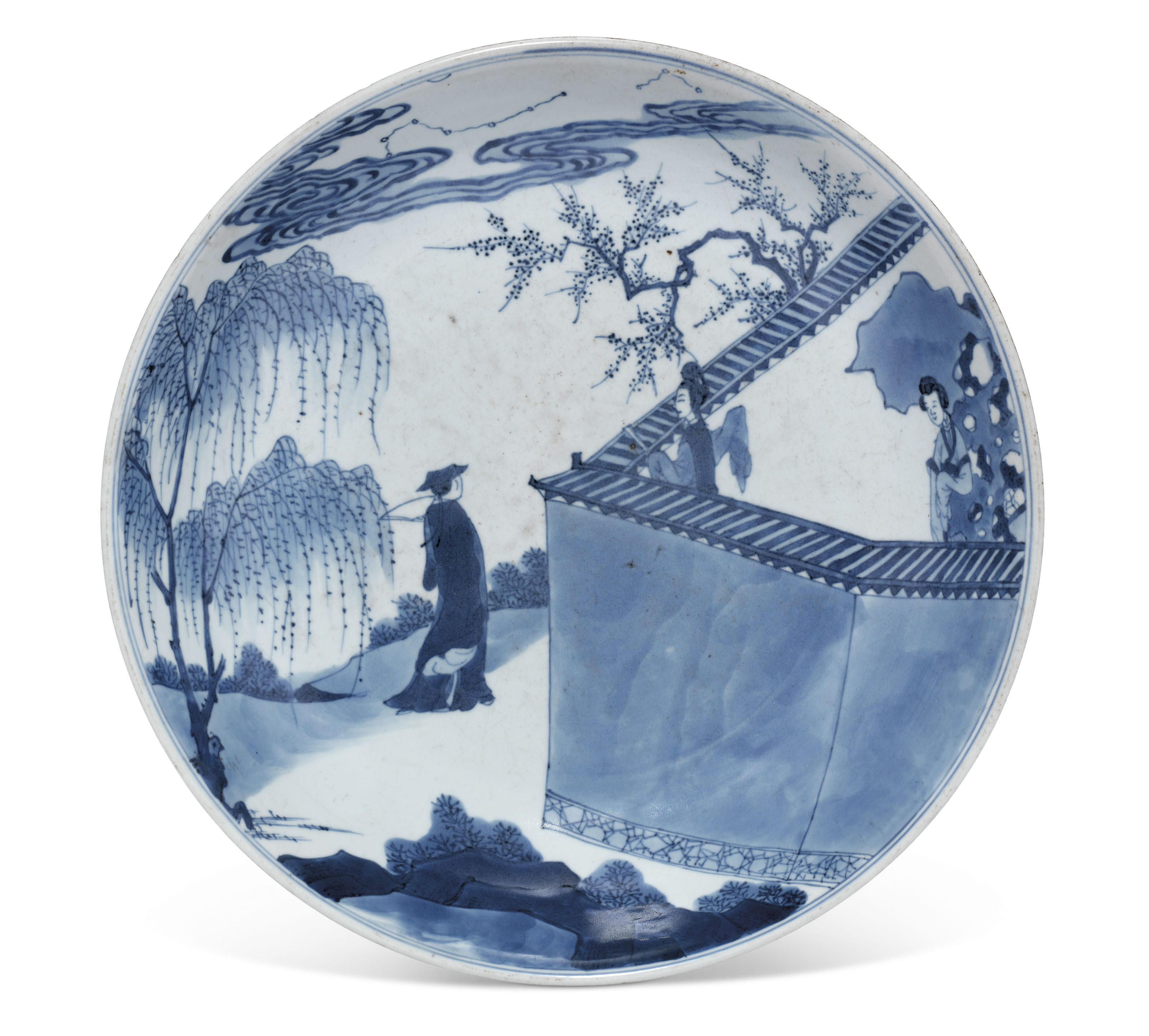 A BLUE AND WHITE 'ROMANCE OF THE WESTERN CHAMBER' DISH