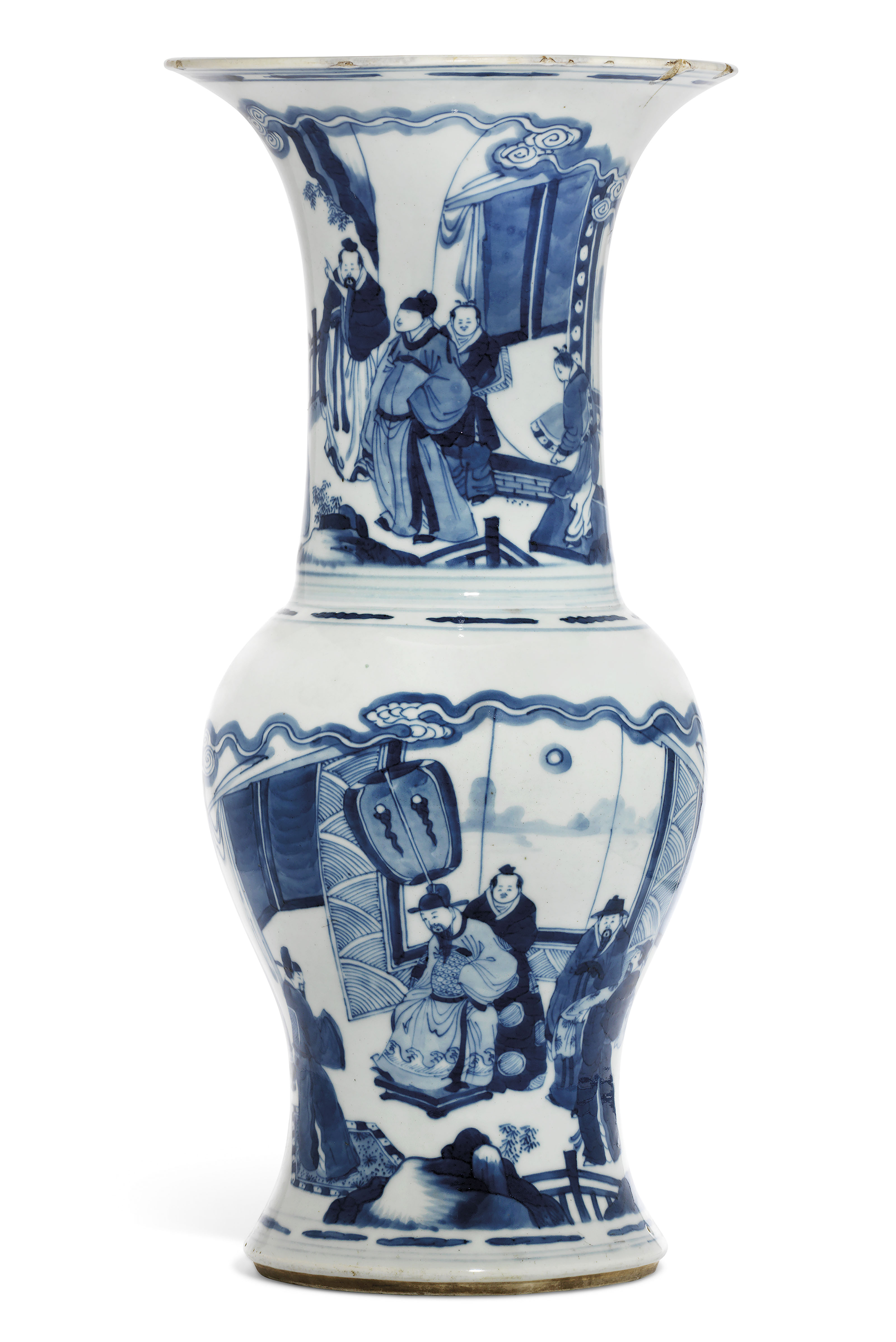 A BLUE AND WHITE FIGURAL 'PHOENIX TAIL' VASE