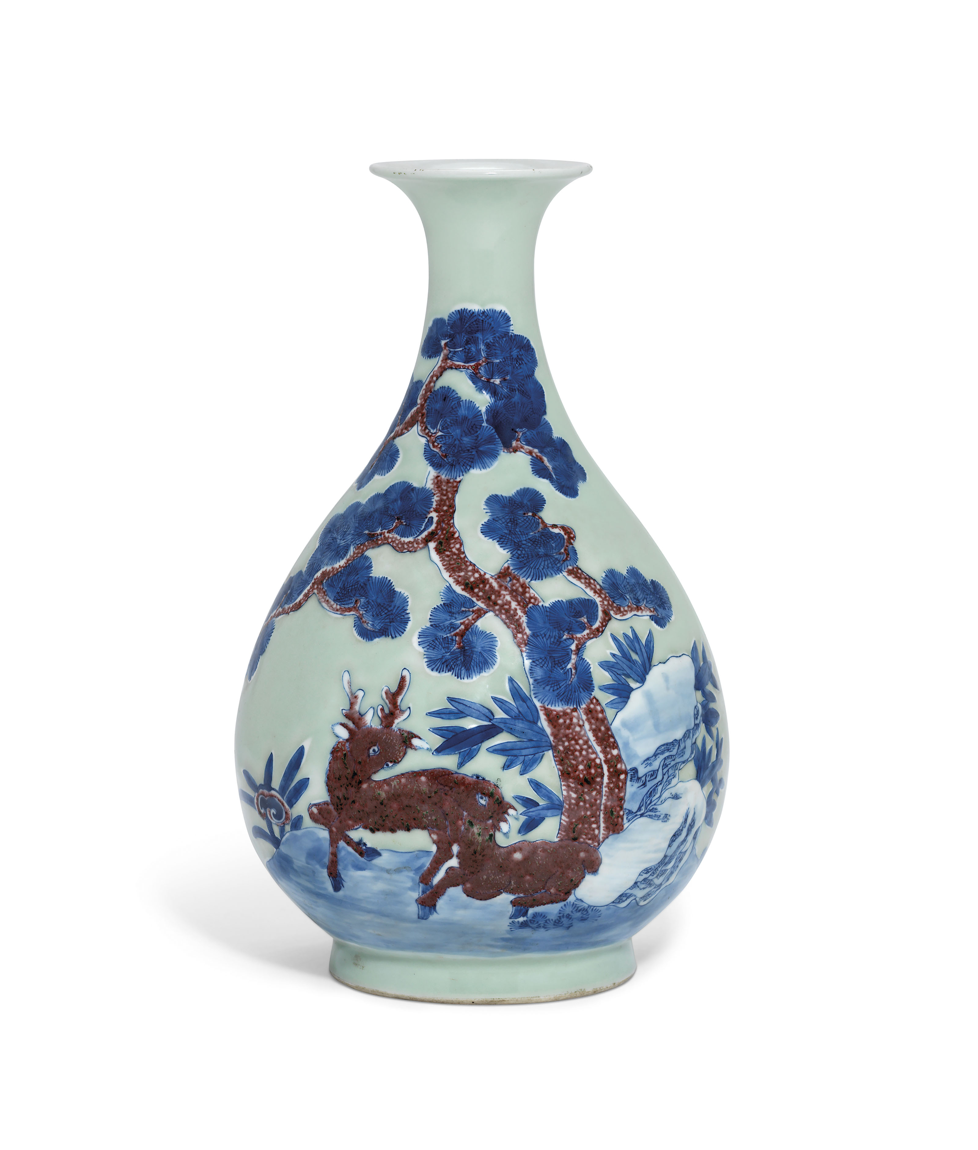 A CELADON-GROUND UNDERGLAZE BLUE AND COPPER RED-DECORATED PEAR-SHAPED VASE...
