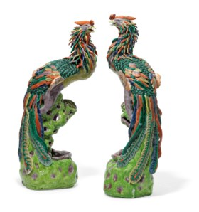 A PAIR OF LARGE FAMILLE ROSE FIGURES OF PHOENIXES
