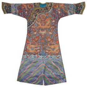AN EMBROIDERED BROWN SILK-GROUND PADDED 'DRAGON' ROBE, MANGP