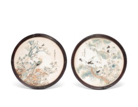 TWO EMBROIDERED SILK 'BIRD' ROUNDELS