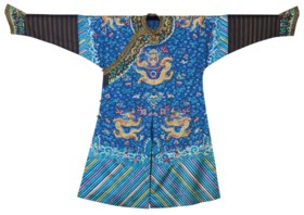 AN EMBROIDERED BLUE-GROUND 'DRAGON' ROBE, MANGPAO