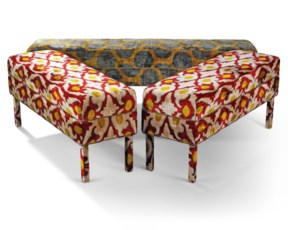 A PAIR OF VELVET IKAT LONG STO