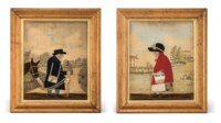 A PAIR OF REGENCY CUT-FELT COLLAGE PICTURES OF THE GOOSE WOMAN AND 'OLD BRIGHT' THE POSTMAN OF FRANT