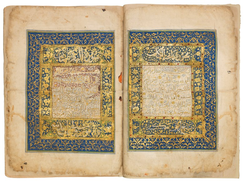 Quran, signed Tanam al-Najmi al-Maliki al-Ashrafi, Mamluk Egypt, dated 21 Jumada I 89430 April 1489. Folio 26¾ x 18 in (68 x 45.5 cm). Sold for £3,724,750 on 2 May 2019 at Christie's in London