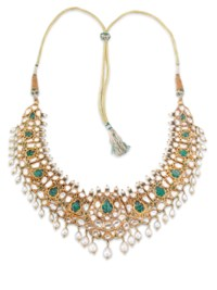 A GEM-SET AND ENAMELLED NECKLA