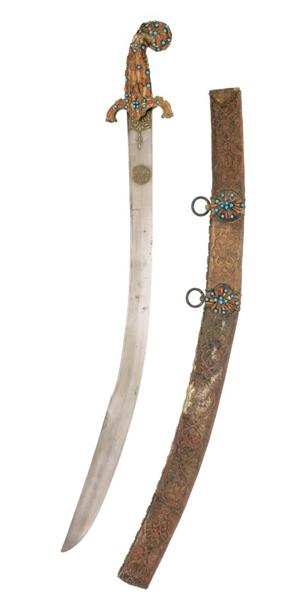 AN OTTOMAN CORAL-INSET SWORD (