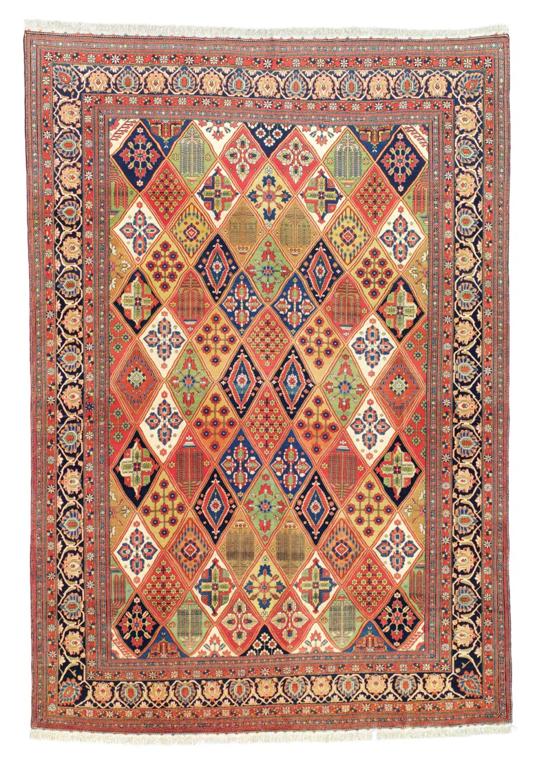 A Kashan Mohtasham carpet, central Persia, late 19th century. 9 ft 7 in x 6 ft 6 in (297 x 204 cm). Estimate £24,000-28,000. Offered in Art of the Islamic and Indian Worlds Including Oriental Rugs and Carpets on 2 May 2019 at Christie's in London