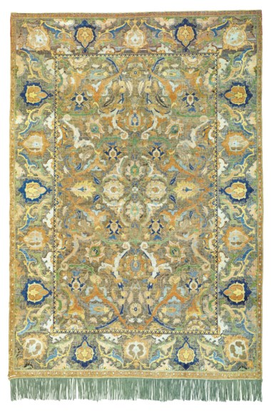 An important Safavid silk and metal-thread 'Polonaise' carpet, Isfahan, central Persia, first quarter 17th century. 6ft 7 in x 4ft 6 in (205 cm x 141 cm). Sold for £3,895,000 on 2 May 2019 at Christie's in London
