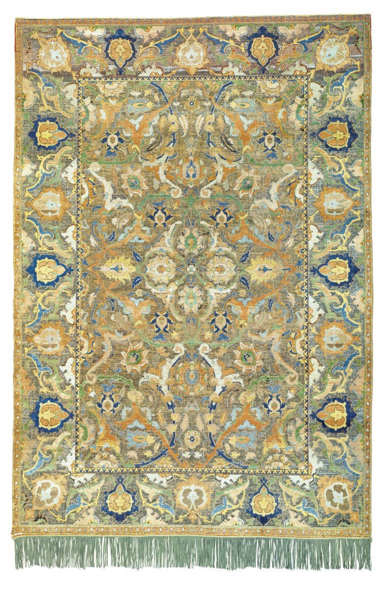 Antique Persian Polonaise' carpet with silk and metal