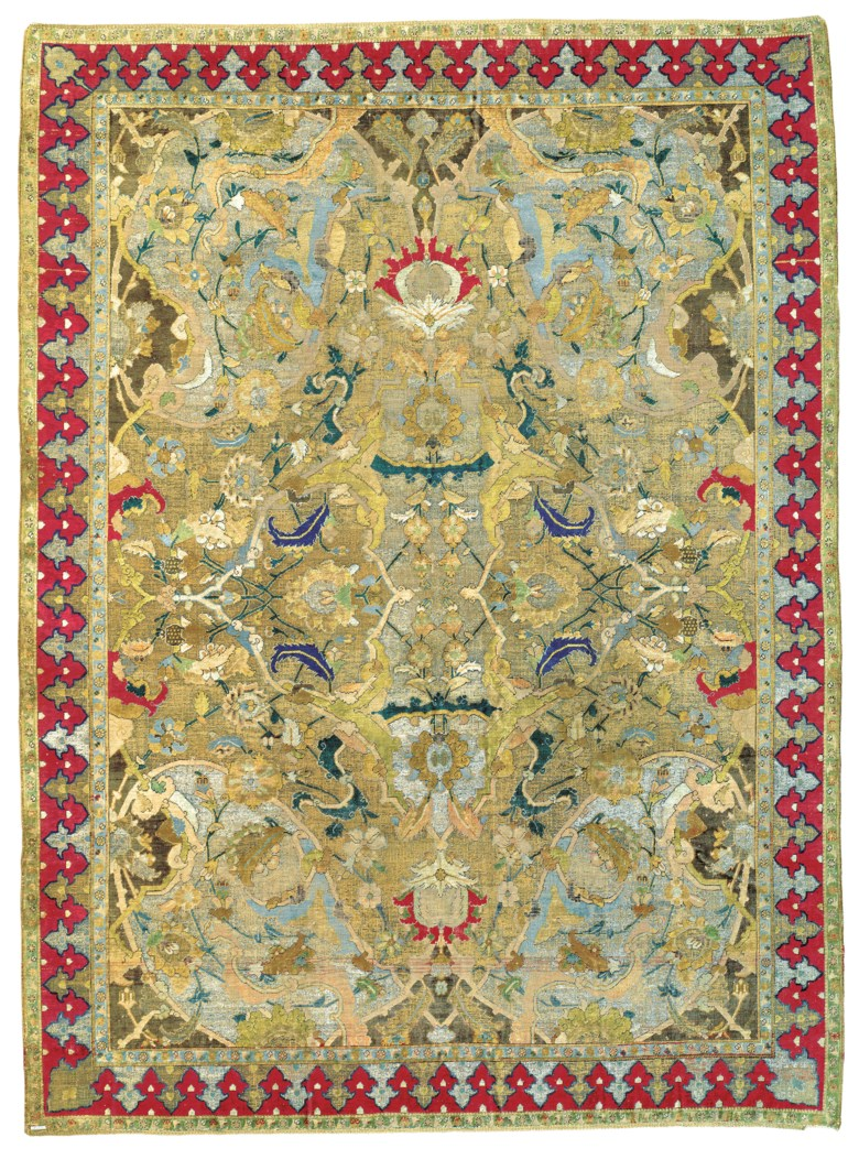 An important Safavid silk and metal-thread Polonaise carpet, Isfahan, Central Persia, first quarter 17th century. 6 ft 5 in x 4 ft 7 in (201 cm x 145 cm). Estimate £550,000-750,000. Offered in Art of the Islamic and Indian Worlds Including Oriental Rugs and Carpets on 2 May 2019 at Christie's in London