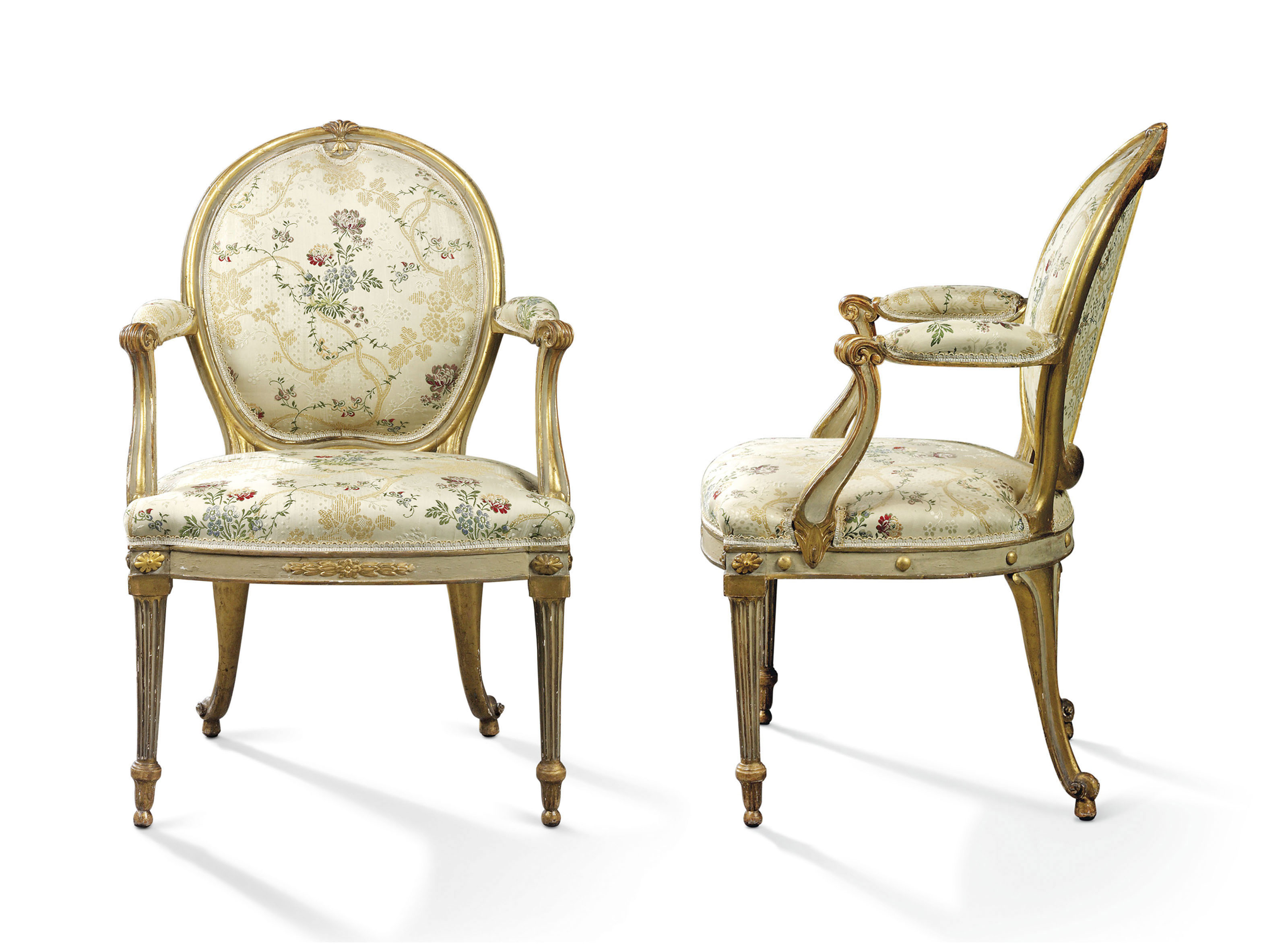 A PAIR OF GEORGE III GREY-PAIN