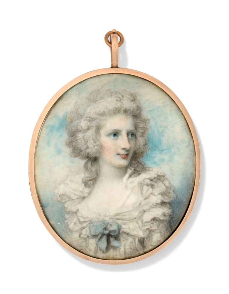 Richard Cosway, R.A. (British, 1742-1821). Elizabeth Countess of Derby (neé Farren) (175962-1829). Estimate £7,000-10,000. Offered in The Collector English Furniture, Works of Art and Portrait Miniatures on 22 May 2019 at Christie's in London
