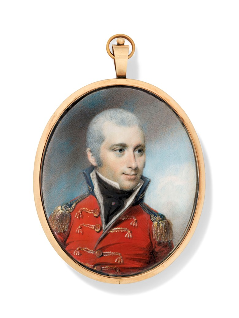 George Engleheart (British, 175052-1829). An Army officer in uniform. Estimate £5,000-7,000. Offered in The Collector English Furniture, Works of Art and Portrait Miniatures on 22 May 2019 at Christie's in London