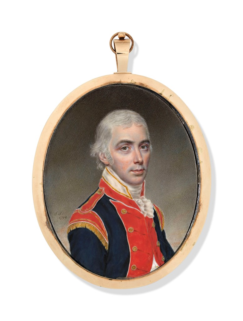 John Smart (British, 1741-1811). A gentleman in the uniform of a volunteer regiment. Estimate £12,000-18,000. Offered in The Collector English Furniture, Works of Art and Portrait Miniatures on 22 May 2019 at Christie's in London
