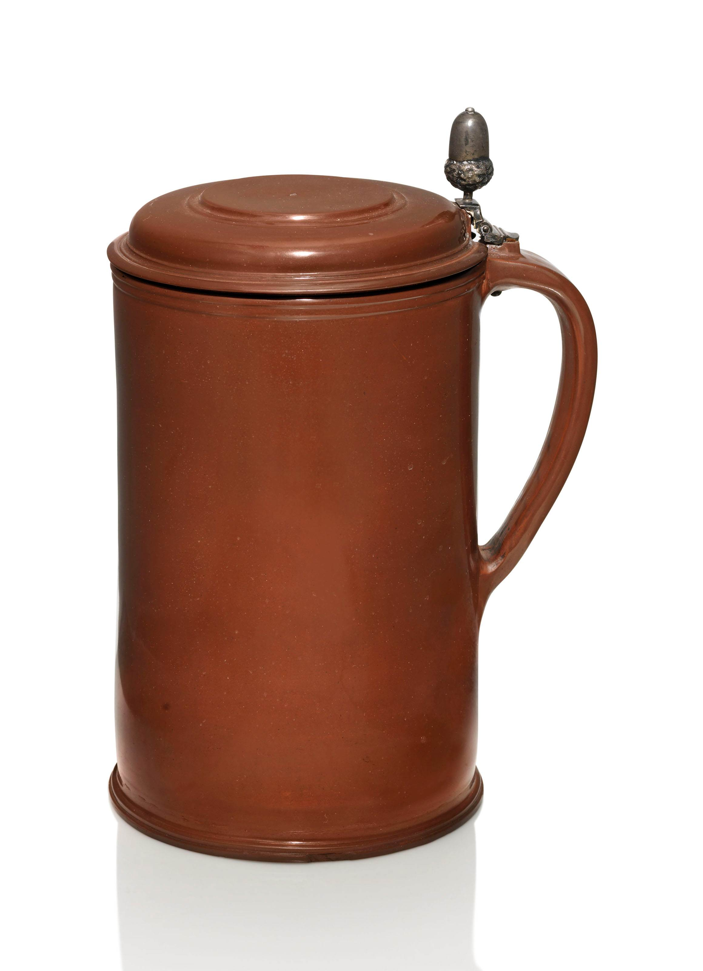 A SILVER-MOUNTED BÖTTGER POLISHED RED STONEWARE TANKARD AND COVER