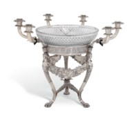 A GEORGE III SILVER AND GLASS CANDELABRUM CENTREPIECE