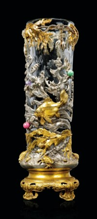 A FRENCH 'JAPONISME' GILT AND SILVERED-BRONZE MOUNTED CUT-GLASS VASE