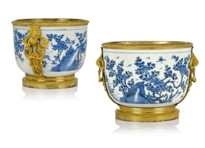 A PAIR OF REGENCE ORMOLU-MOUNTED CHINESE PORCELAIN CACHE POTS