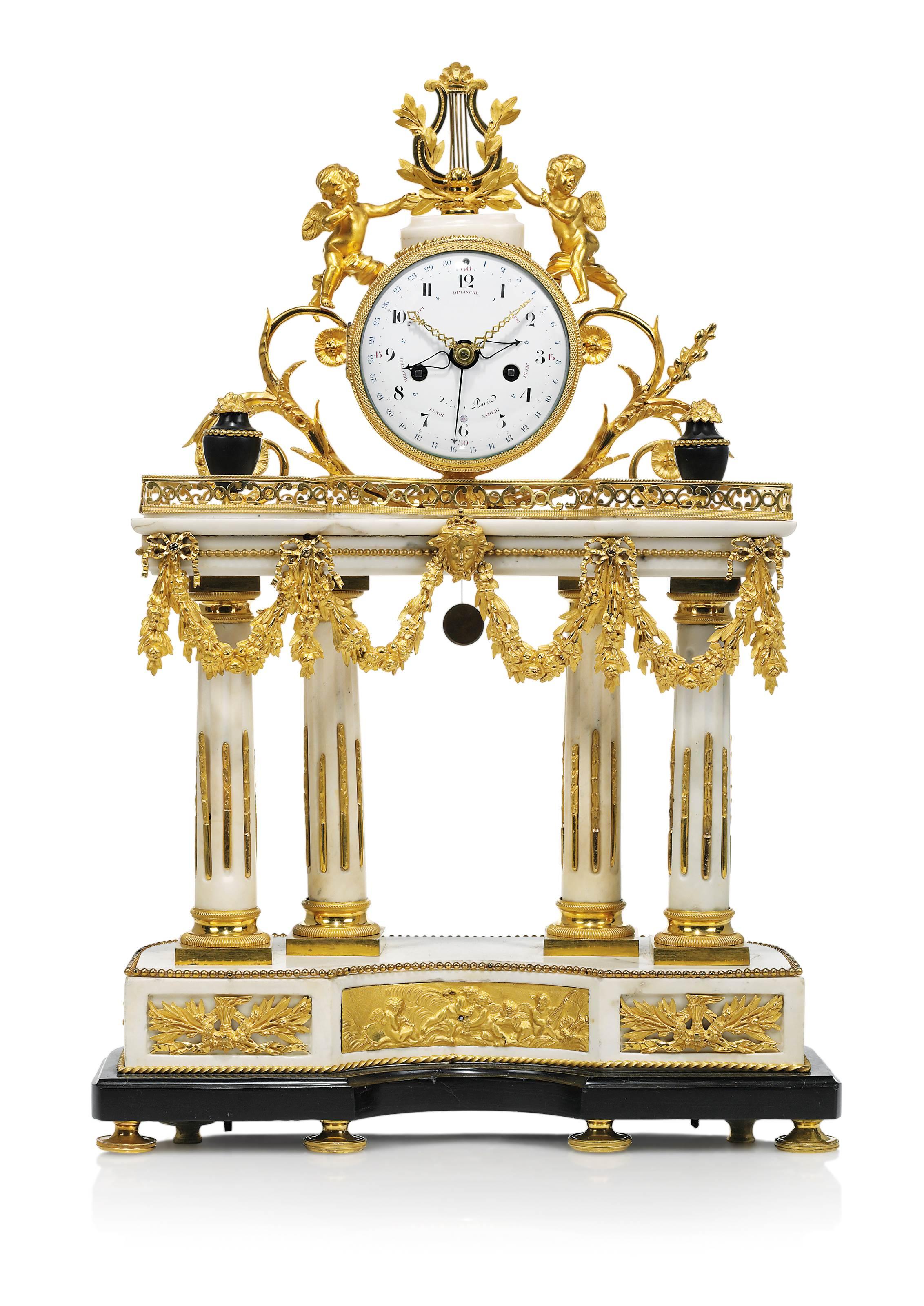 A LOUIS XVI ORMOLU-MOUNTED WHITE MARBLE PORTICO MANTEL CLOCK