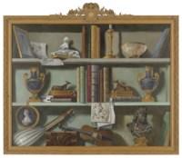 Trompe l'oeil of bookshelves