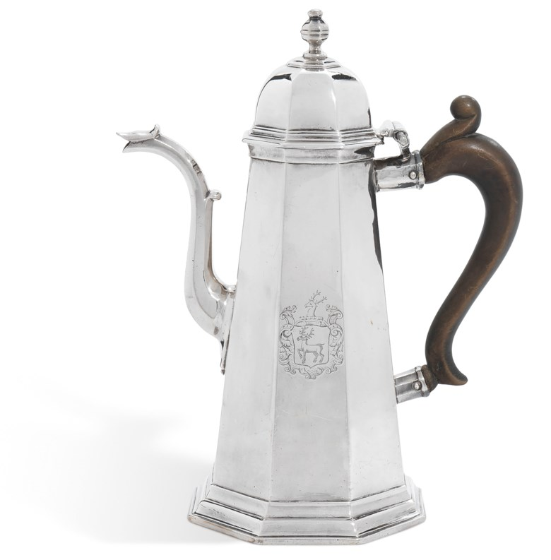 A George II silver coffee pot, Mark of Samuel Wastell, London, 1717. 10¼  in (26  cm) high. Estimate £5,000-8,000. Offered in The Collector Silver and 19th Century Furniture, Sculpture, Ceramics & Works of Art on 14 November 2019 at Christie's in London