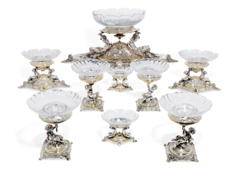 A Victorian parcel-gilt silver nine-piece table garniture, Mark of Elkington and Company Limited, Birmingham, 1862. Estimate £70,000-100,000. Offered in The Collector Silver and 19th Century Furniture, Sculpture, Ceramics & Works of Art on 14 November 2019 at Christie's in London