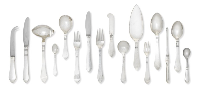 A Danish table-service, Mark of Georg Jensen, Copenhagen, after 1945. Estimate £6,000-8,000. Offered in The Collector Silver and 19th Century Furniture, Sculpture, Ceramics & Works of Art on 14 November 2019 at Christie's in London