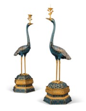 A PAIR OF CHINESE GILT-BRONZE