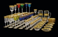 A ST. LOUIS 'THISTLE' PATTERN CLEAR AND COLOURED CUT-GLASS PART TABLE-SERVICE