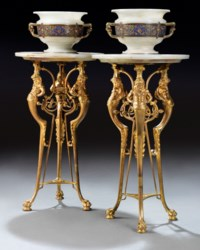 A PAIR OF FRENCH ORMOLU AND CLOISONNE-ENAMEL MOUNTED ONYX VASES ON STANDS