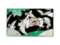 Six enamel plaques: Archer; Golfer; and Four floral compositions