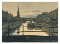 Kriukov canal; Venice at night; Three views of St Petersburg; Two views of Pavlovsk; and Nude and male figure