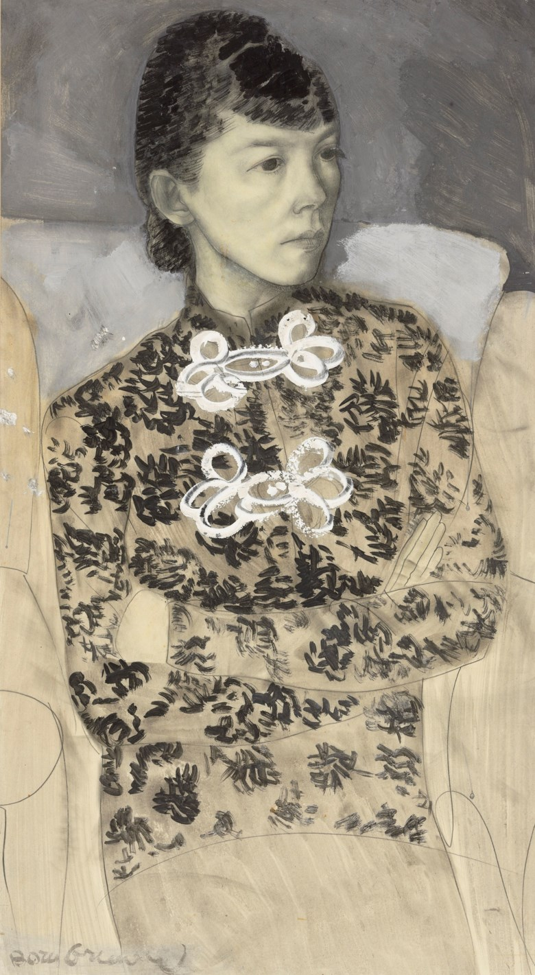 Boris Grigoriev (1886-1939), Portrait of a Woman in a Jacket with Frog Fasteners. Pencil, ink and gouache on paper. 27 x 15  in (68.6 x 38.2  cm). Offered in Russian Art on 3 June 2019 at Christie's in London