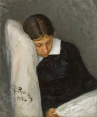 Portrait of Vera Repina, the artist's wife, reading
